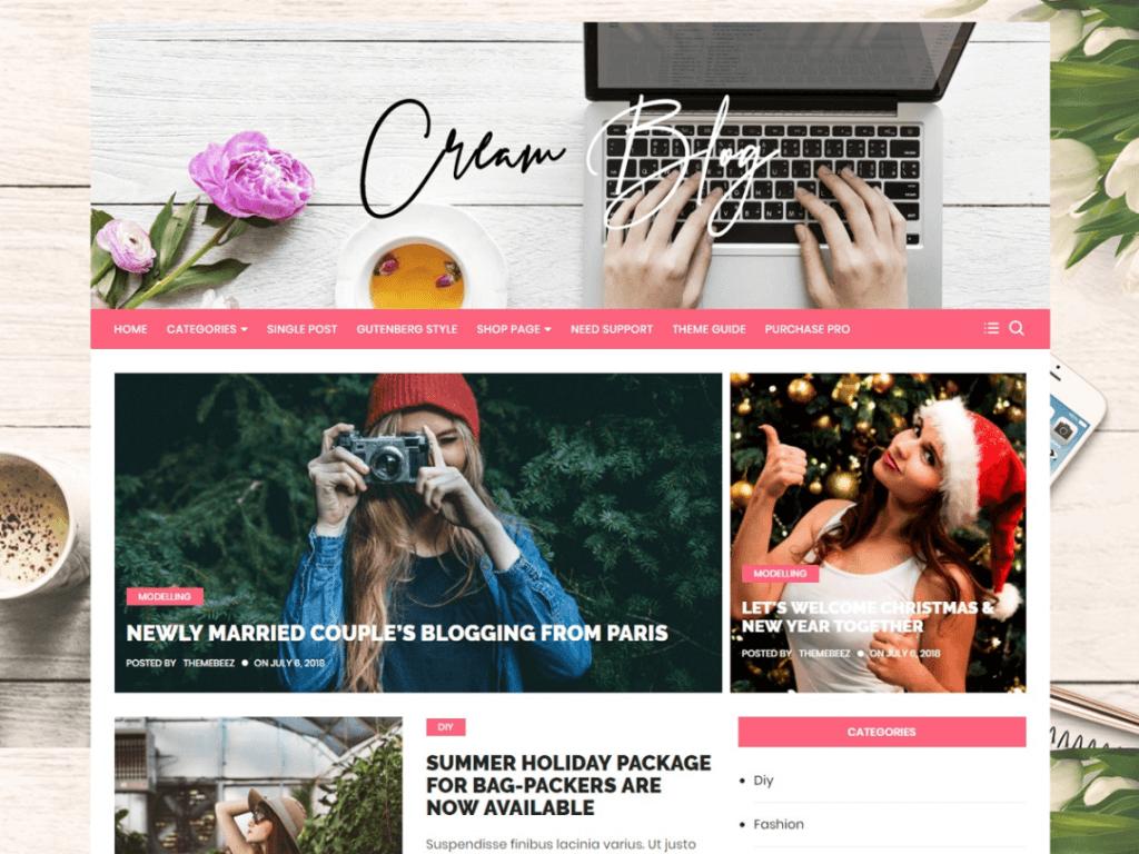 Cream-Blog-best-free-feminine-WordPress-themes-EverestThemes