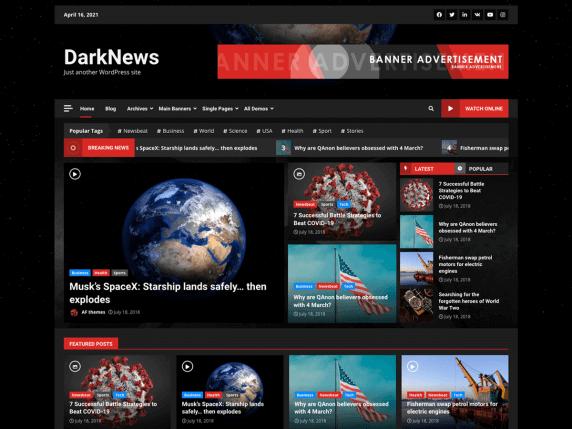 DarkNews-top-best-free-responsive-WordPress-themes-EverestThemes