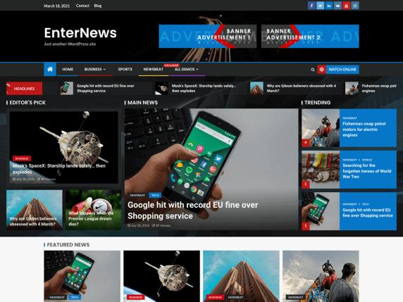 EnterNews-top-best-free-news-magazine-WordPress-themes-EverestThemes