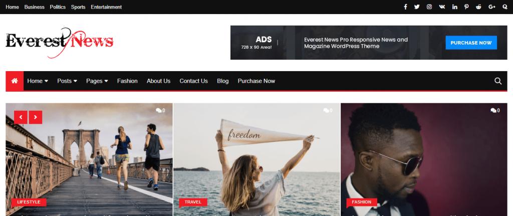 EverestNews-top-best-free-news-WordPress-themes-for-personal-blog-EverestThemes