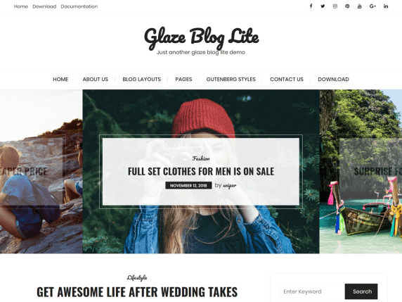 Glaze-Blog-Lite-top-best-free-feminine-WordPress-themes-EverestThemes