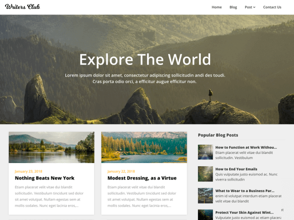 Writers-Blogily-top-best-free-WordPress-for-writers-EverestThemes