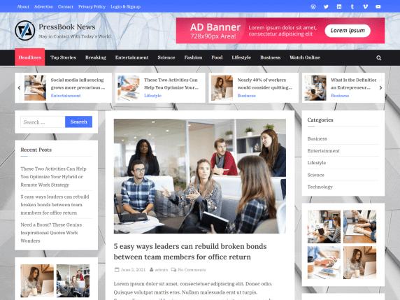 PressBookNews-top-best-free-news-WordPress-theme-EverestThemes